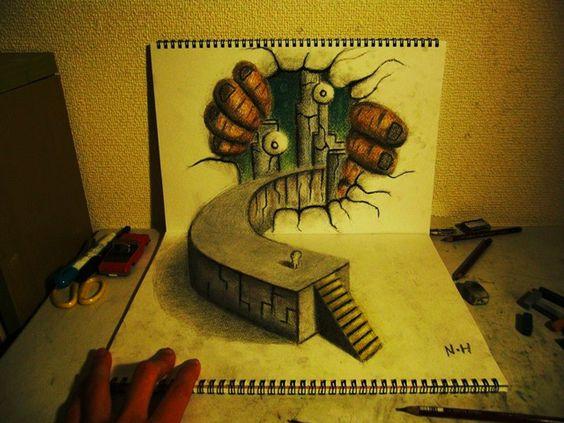 3D Illusion Sketchbook Drawings by Nagai Hideyuki...