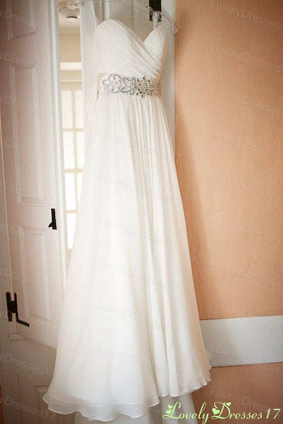 Flowing beaded white a line sweetheart neckline court for Flowing beach wedding dresses