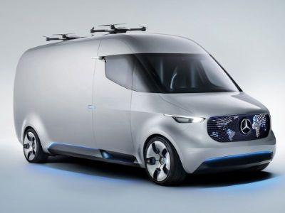Mercedes-Benz Vision Van, movida a energia elétrica e totalmente conectada com compartimento de carga automatizado, drones para entrega pelo ar e comando por joystick