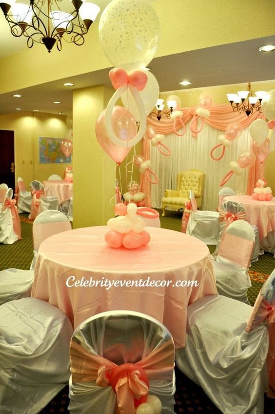 Balloon Centerpieces Pacifiers And Elegant Baby Shower On