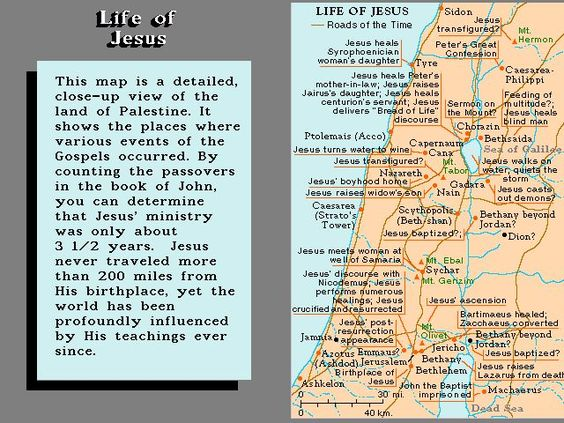 This map shows where Jesus performed some of His miracles in the – Map Of Jesus Travels