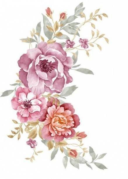 Pin By Gurmet Bhamra On Prints Flower Illustration Vintage Flower Tattoo Watercolor Illustration