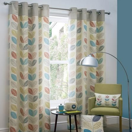 Yellow Skandi Thermal Eyelet Curtains | Dunelm | Living Room ...
