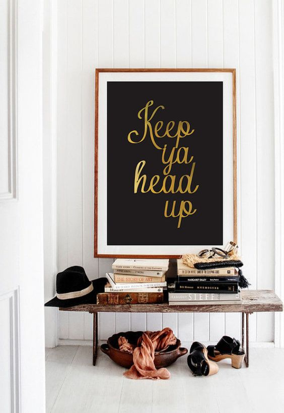 Modern Typography Poster Keep Ya Head Up Wall by LovelyPosters