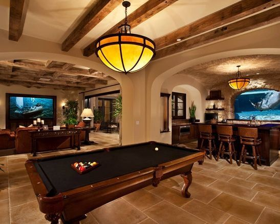 luxury man cave game room bar