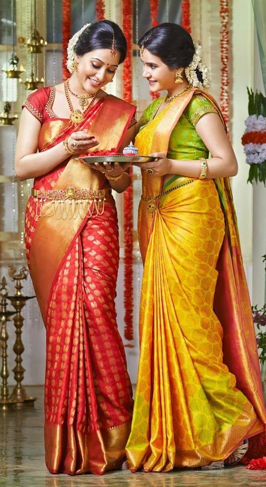 Pretty silk sarees. Love the red and gold one. Indian fashion. #BridalJewelry #Kamarbandh #Maangtikka