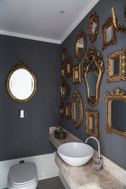 | P | Bathroom Wall of Antique Mirrors - Modern with Antique: