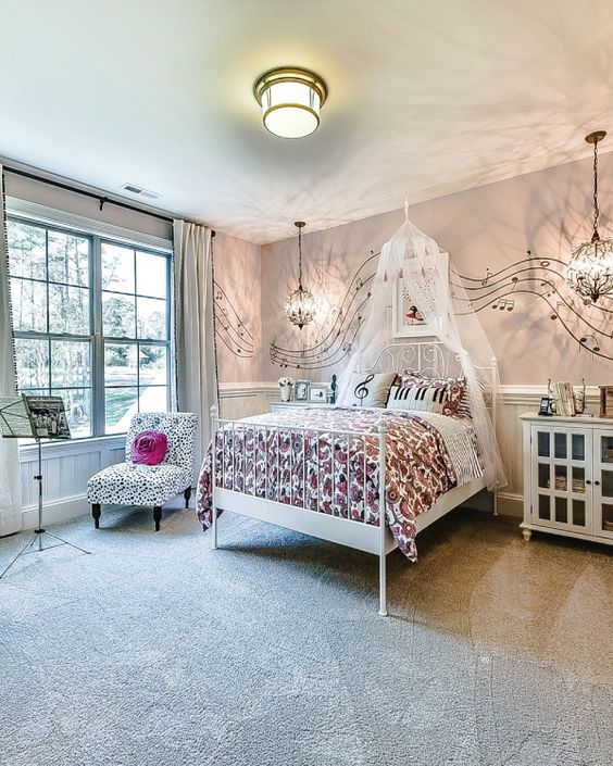 Most Beautiful Bedrooms For Girls Pink Bedroom Athletics Slipper Boots Mens Bedroom Door Gate Bedroom Sets California King: Music Themed Pink Girls Bedroom With Music Notes Across