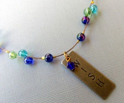 Blue and Green Bead Cluster Necklace with WISH Pendant