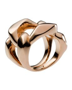 Y11SZ Michael Kors Chain Ring, Rose Golden
