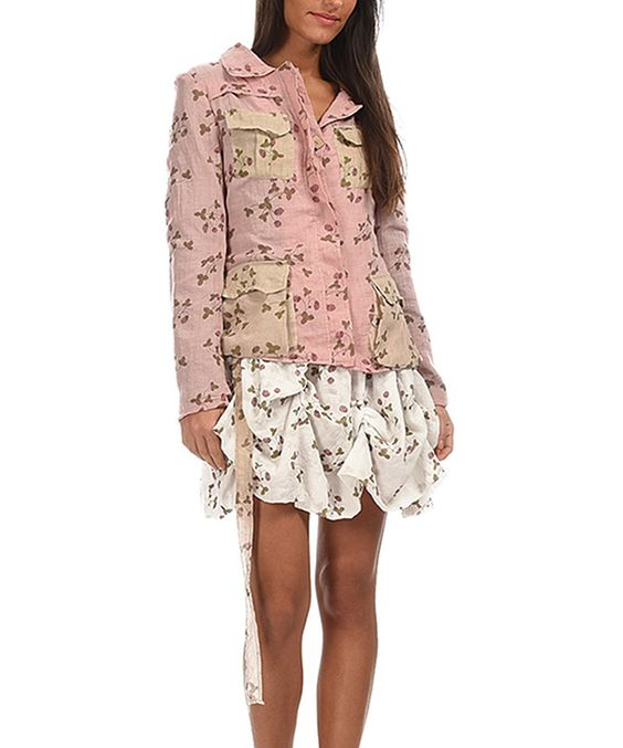 Look at this Pink & Beige Floral Flap-Pocket Jacket on #zulily today!