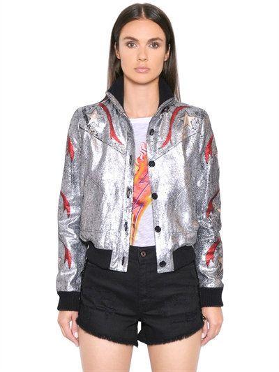 JUST CAVALLI Crackled Laminated Leather Jacket, Silver/Red. #justcavalli #cloth #leather jackets