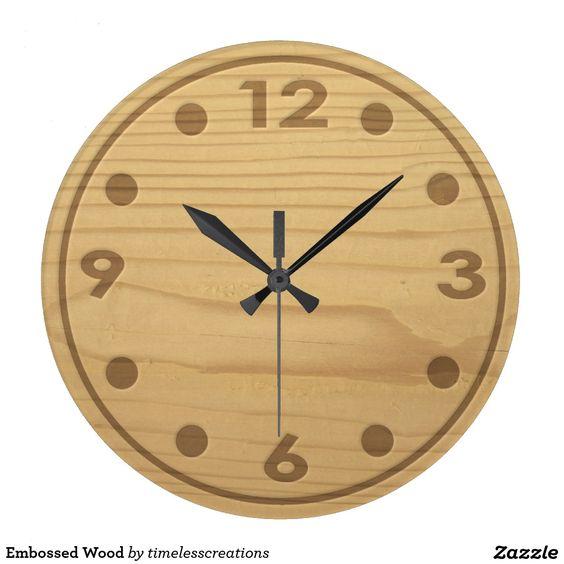 Embossed #Wood #Clock