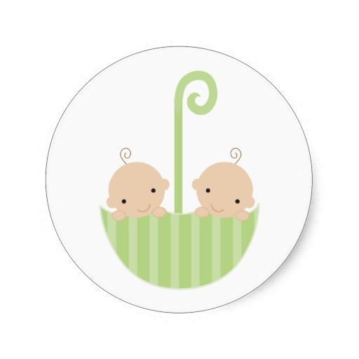 Twins In Umbrella Classic Round Sticker Zazzle Com Baby Shower Stickers Twins Round Stickers