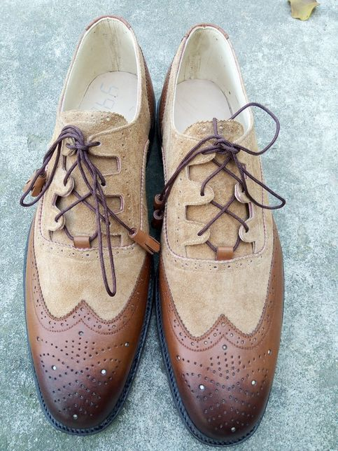 Handmade Men S Brown Beige Color Leather Suede Shoes Wing Tip Brogue Dress Formal Lace Up Shoes Beige Shoes Suede Shoes Wingtip Shoes