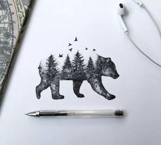 Cool tattoo idea! Could even do it with different animals. Instead of a bear you could do a wolf!