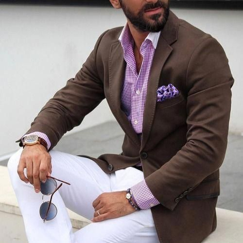 Men S Style White Pants Pink Shirt Brown Jacket Mensfashionideas Mens Casual Outfits Mens Outfits Blazer Outfits Men