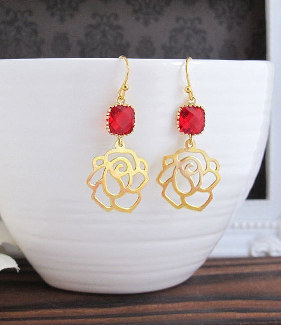 Charming Passion Red Glass with Rose Drop Modern Earrings, 14K Gold Filled Ear Bridal Accessory. Red Wedding, Bridesmaid Gift, Everyday Wear
