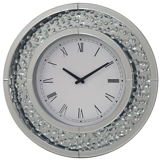 Rosalie Wall Clock Round In Mirrored Glass With Crystals Border Phcl201 Wall Clock Clock Wall Decor Large Wall Clock Modern