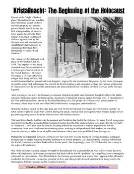Kristallnacht Common Core Reading Worksheet for the Holocaust ...