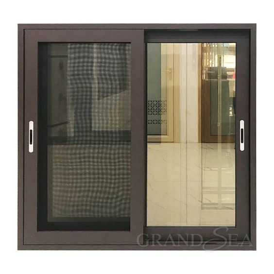 Brown Coffee Color Aluminum Sliding Window With Security Mesh In 2020 Sliding Windows Window Frame Colours Windows