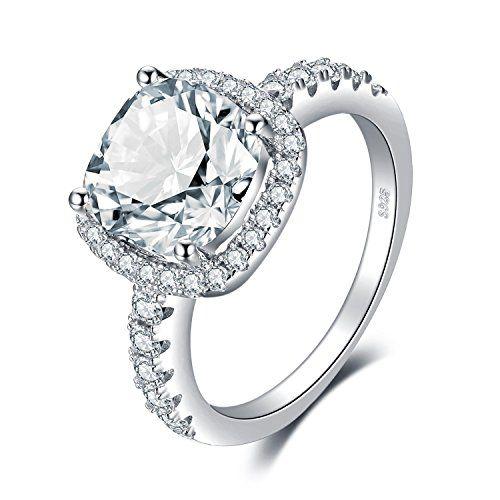 Halo De mariage Bague Fiançailles Argent Sterling 925 Ovale Rond Zircone cubique