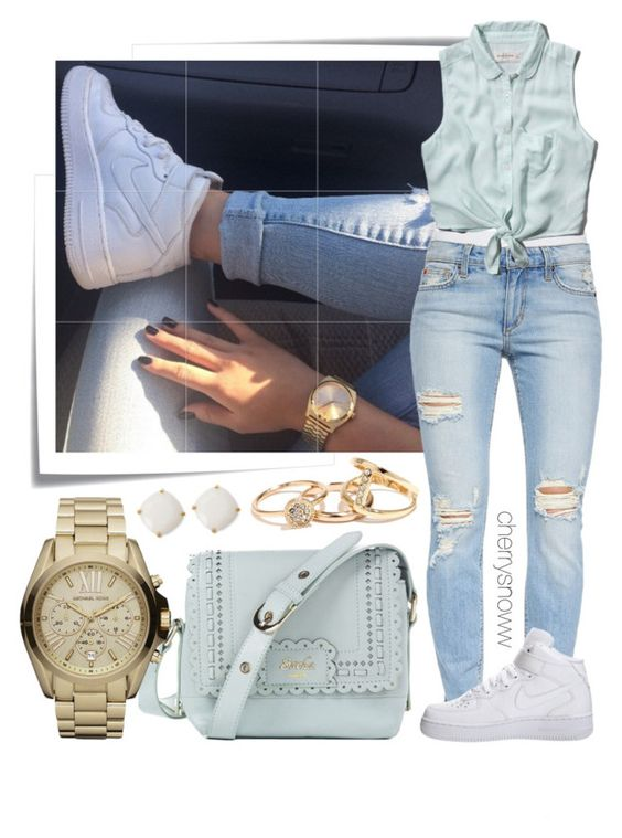 """""""Casual sneakers spring outfit"""" by cherrysnoww ❤ liked on Polyvore featuring Post-It, Joe's Jeans, Abercrombie & Fitch, NIKE, Lipsy, Michael Kors and Kate Spade"""