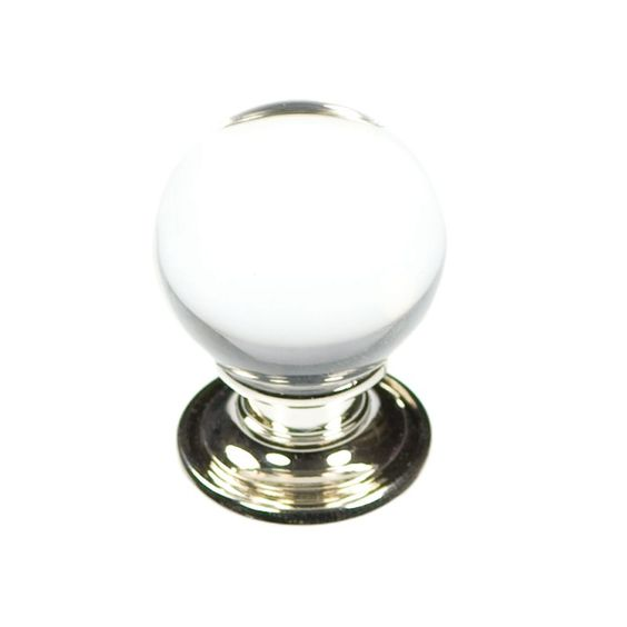 Hickory Hardware P3637 Luster 1-1/8 Inch Diameter Round Cabinet Knob Glass  with Chrome Cabinet Hardware Knobs Round