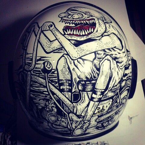 Hand Drawing On Helmet