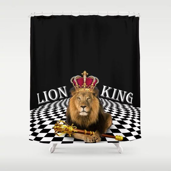 Lion King On Checkered Background Shower Curtain By