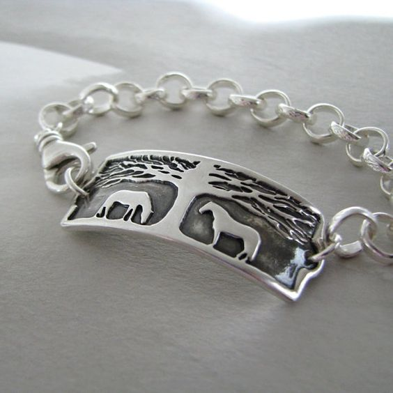 Horse Bracelet Horse Jewelry Handmade Link with by SilverWishes