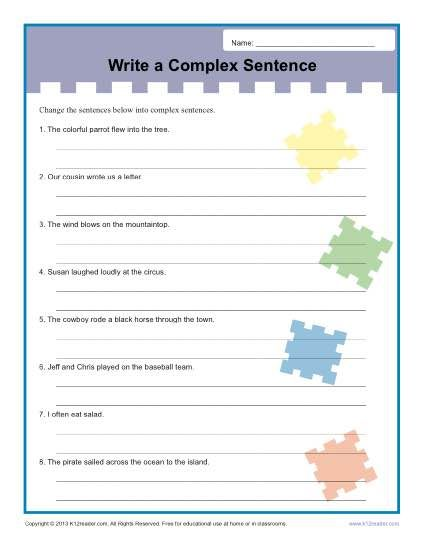 Write A Complex Sentence Worksheet Writing Worksheets Sentences