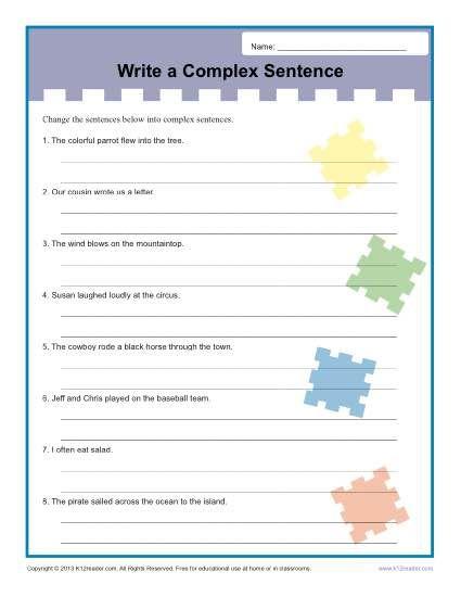 write a complex sentence worksheet activities complex sentences and worksheets. Black Bedroom Furniture Sets. Home Design Ideas