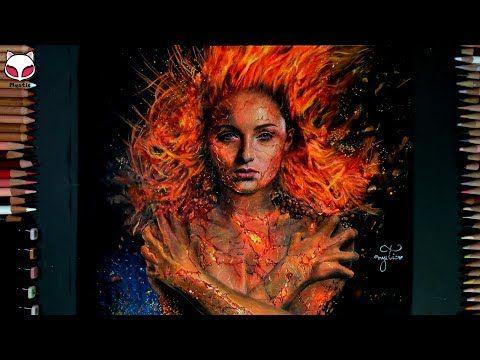 Drawing Jean Grey X Men Dark Phoenix 2019 Qhd Mystic Youtube Jeangrey Sophieturner X Men Darkphoenix Mystic Dark Phoenix Realistic Art X Men