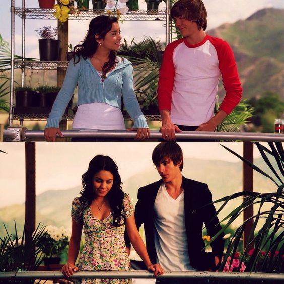 high school musical,known as in the movie troy and gabriella real names are vanessa ANNE HUDGENS AND ZAC EFRON.2007 MOVIE