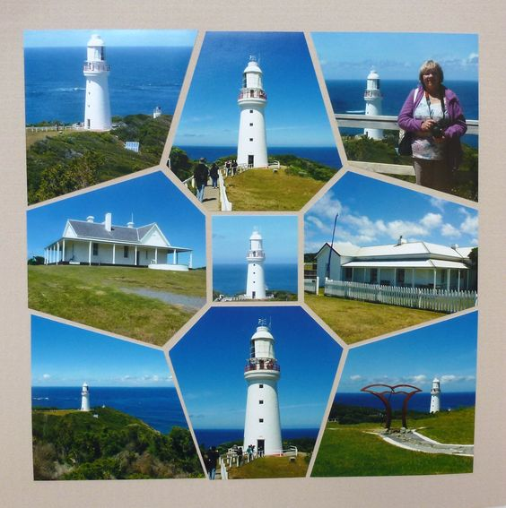 I need to do this with my Lighthouse pictures. Photo Collage created by Betty Roberts, Lea France designer, using Snowflake Stencil.