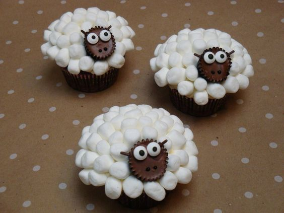Sheep Cupcakes.  These really were easy to make.