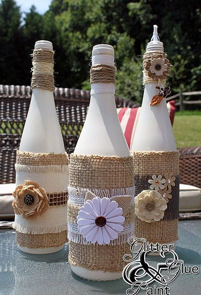 tiki wine bottles, crafts, home decor, repurposing upcycling, Some neutral paint and neutral color burlap and embellishments you can use make these to match any patio