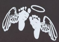 Baby feet with angel wings decal for car