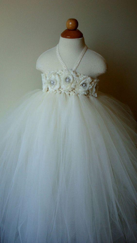 Flower girl dress Ivory tutu dress by Theprincessandthebou on Etsy, 74.00...love for the girls!!!