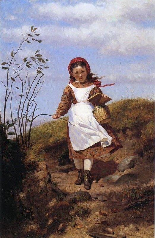 18-Art classique Anglais De John George Brown ( Artiste anglais 1831-1913 )