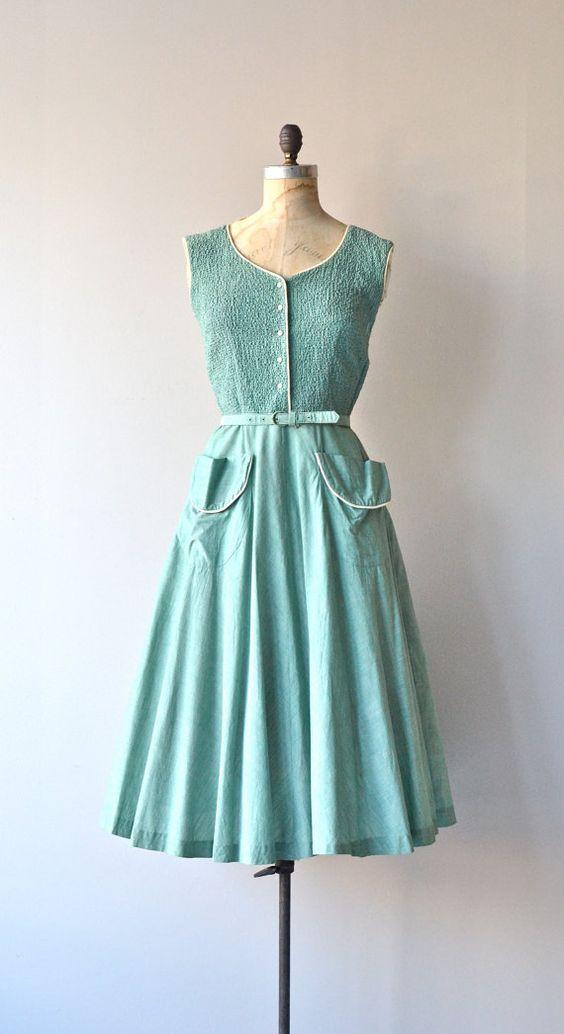 Sea Glass dress  vintage 1950s dress  cotton 50s dress  Day ...