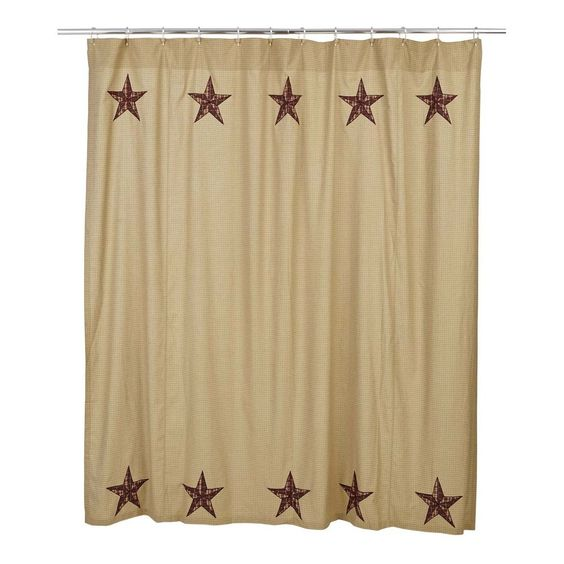 New primitive country bath quilt barn star shower curtain for Star curtain fabric