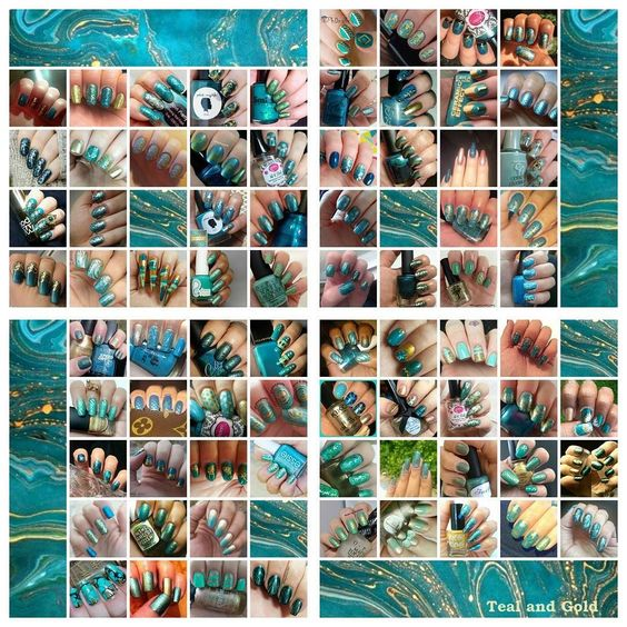Here is the latest collage for the #whencolourscollide collage collab. Another huge collage of Teal and Gold with 76 wonderful participants. If you want to join our bi-weekly nail challenges go to our FB page and join us! #whencolourscollide #nails #nailart #collage #collab #nailchallenge #tealgold by whencolourscollide