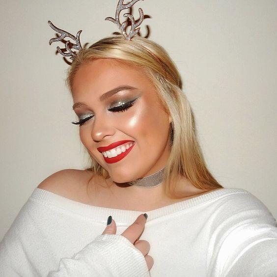Christmas makeup look! Red lip and silver glittery eye #redlips #makeuptutorial #holidaymakeup #classicmakeup #silverglitter