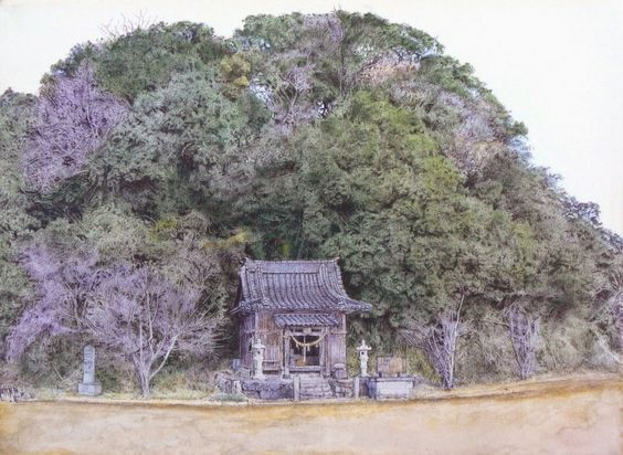 Acoustic Drawings The Shinji Ogata Gallery: Landscape from Ashikita 3  芦北町田ノ浦御立岬: 祠のある風景 3
