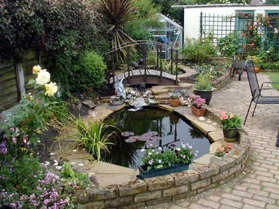 garten ideen kleines teich anlegen grücke terrasse Garten und - gartenteich bilder beispiele