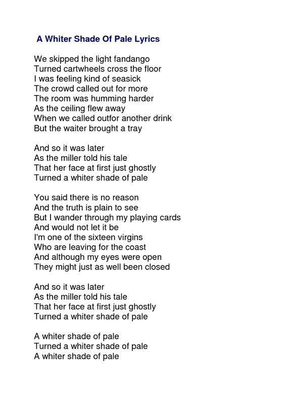 Procol Harum - A Whiter Shade Of Pale Lyrics | MetroLyrics