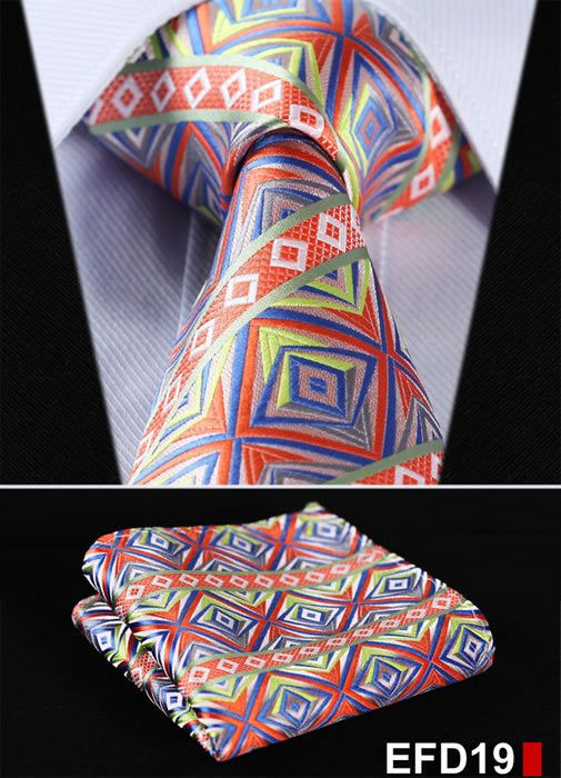 100%Silk Paisley Jacquard Woven Men Tie Necktie Pocket Square Set: