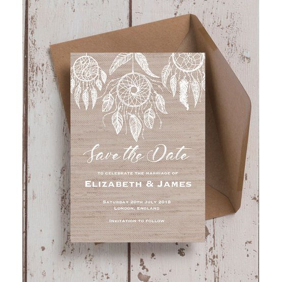 Dream Catcher Wedding Save The Date In